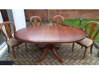 Solid wood oval table & 4 chairs