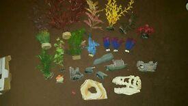 Selection of fake plants & ornaments for fish tank aquarium