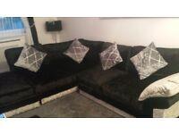 Black and silver crush velvet sofa