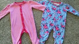 Two baby girls sleepsuits vintage floral 3-6