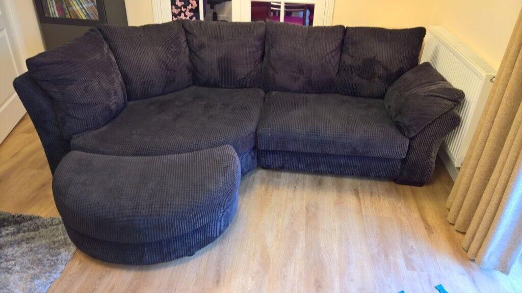 Black Curved Corner Sofa