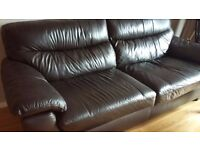 Brown Leather 3 Seater Sofa , Recliner Chair & Footstool For Sale