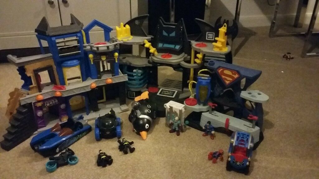 imaginext batman batcave gotham city and superman sets plus mr freeze and vehicles