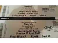 2 tickets to diversity genesis tour 23rd april