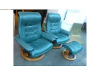 Two Ekornes Stressless Green Armchairs and one Footstool Can deliver