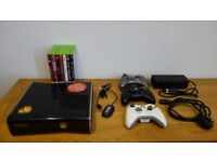 Xbox 360 slim 250GB 3 controllers 8 games