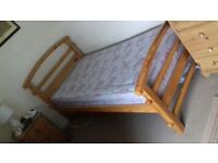 Single mattress and solid pine bed