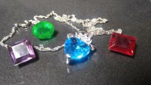 FREE 24 hour delivery! Intense blue Swarovski pendant with real ruby gemstone, alexandrite and emerald-green beryl