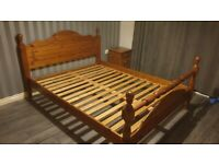 Substantial pine king size bed frame.