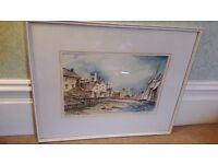 D Thompson original watercolour of old North shields fish quay