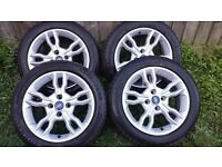 FORD FIESTA A SET OF 16 INCH ALLOY WHEELS AND TYRES REMOVED ON 2016 TYRES.
