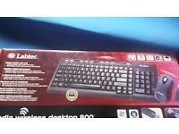 New Labtec Media Wireless Desktop 800 Keyboard and Mouse