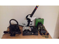 Details about Amazing Xbox 360 Elite Bundle - with Kinect, Headsets, Guitar and 20+ games