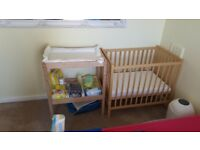 Baby cot and changing unit