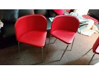four dinning table chairs red colour