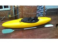 7ft kayak complete with paddle and brand new spray skirt