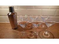For Sale 6 Cocktail Glasses and Stainless Steel Shaker