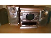 Hifi system with 3 disc cd changer and twin cassette & DAB radio with 2 extra toshiba speakers