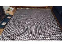 Beautiful large blue and white chevron pattern rug