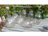 Glass demijohn bottles x 3 for wine/beer making/brewing, 3 x flasks: 10l, 5l & 3l & a fish bowl