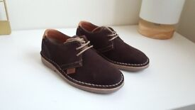 Brown suede boys lace up shoe size 30