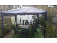 Garden Table and 6 Chairs plus gazebo 3x3 hardly used sell as a set