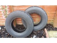 two tyres for sale size 245/70 r16 radial tubeless 4/5 mm tread £30 each