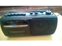 Hitachi TRK-65E Portable AM FM Radio Cassette Player Vintage 1980s