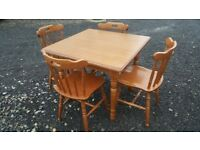 square table and four chairs
