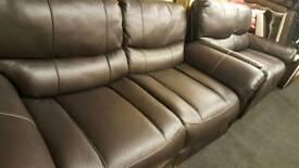Saturn Dark brown endurance leather 3+2 seater sofas