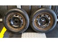 185 60 14 2 x tyres Goodyear EficientGrip + 2 steel wheels Skoda ,VW,Audi ,Toyota.