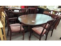Dark Brown Wooden Table and 6 Chairs