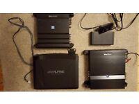 Alpine car amplifier set, SWE-1200 subwoofer, PMX-F640 4ch amp, MRX-T15 2ch amp, 4 SPG-69C3 speakers
