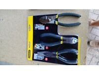 Pliers Set Stanley 3 Piece ((combi, long nose and side cutters) still packaged and unused))
