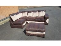 Fabulous BRAND NEW corner sofa and matching footstool,chenille fabric, can deliver