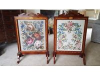 A Pair of Wood/Glass/Tapestry Firescreens (can be split) in Great condition