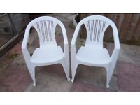 4 White Plastic Stacking Garden Chairs In Excellent Clean Condition