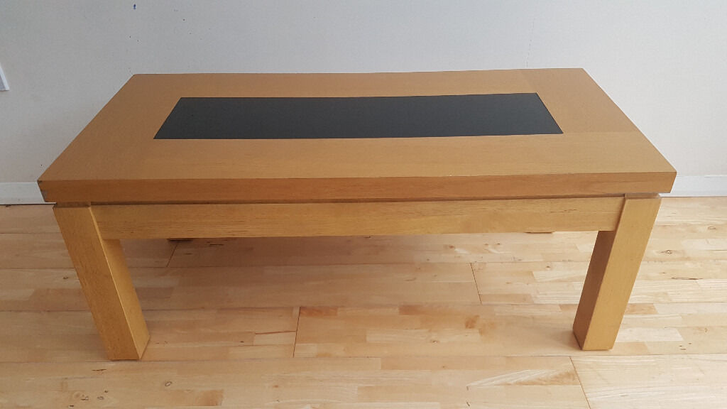 Black Glass Side Table Gumtree: Light Brown, Wood Coffee Table With Black, Tempered Glass