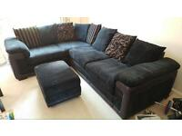 DFS Black Right Facing Pillow Back Corner Sofa with Storage Footstool