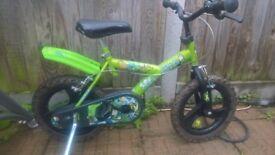 """Childs bike, ben ten design. 10"""" approx wheels.goid condition"""