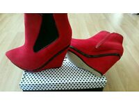 BRAND NEW RED PLATFORM BOOTS - SIZE 4