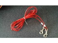 Wire dog leash tie out 6m 20ft long camping etc