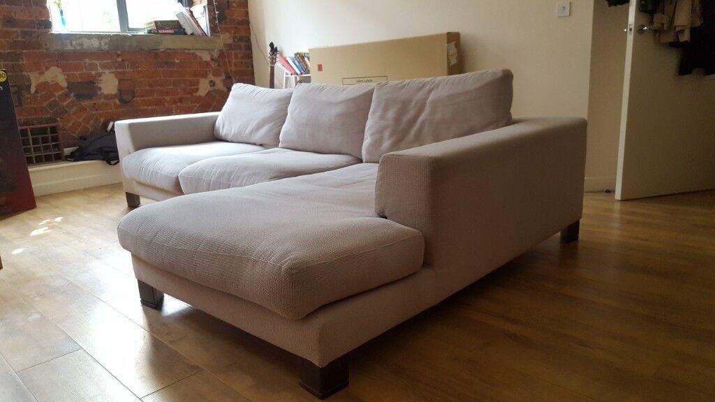Large L Shaped Sofa Very Comfortable Light Grey Colour Seats 5