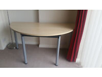Semi circular desk ideal for home office/student bedroom. Easy to assemble. Folds flat. £20 ono