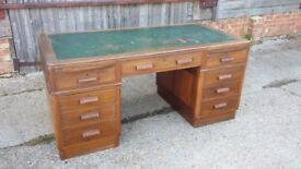 Massive Vintage Kneehole Knee hole Pedestal Desk Teak or Mahogany. With Keys