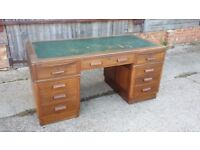 Massive Vintage Kneehole Knee hole Pedestal Desk Teak or Mahogany. With Keys