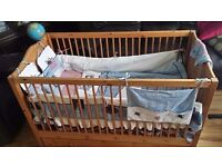 Cot bed with wardrobe - same design for sale - pine