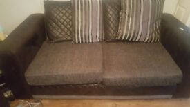 2 and 3 seater black and grey sofa