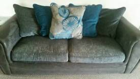 3 seater teal and grey sofa