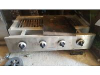 4 burner charcoal grill with hot plate